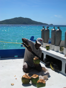 Preparing from fresh coconuts on a dive trip