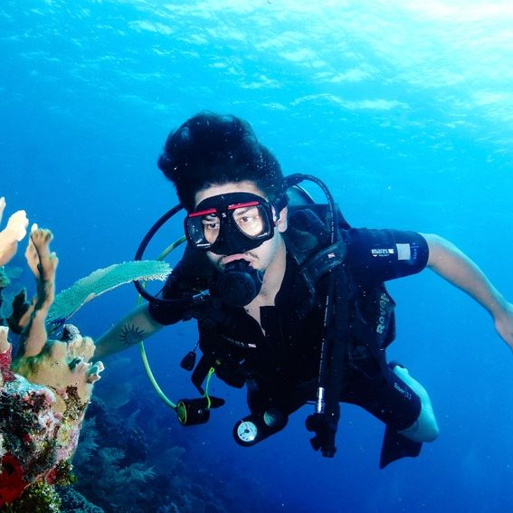 Open Water diver looking at coral
